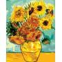 Картина-раскраска по номерам «Ваза с двенадцатью подсолнухами» 40*50 см