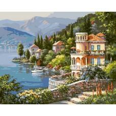 Картина-раскраска по номерам «Вилла на берегу озера» 40*50 см