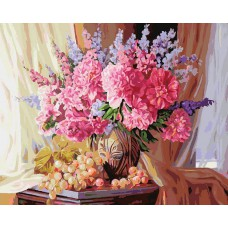 Картина-раскраска по номерам «Виноградно-пионовое» 40*50 см
