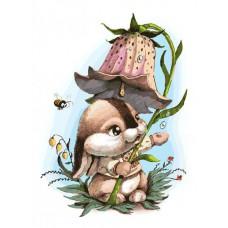 Картина-раскраска по номерам «Зайчик с колокольчиком» 30*40 см