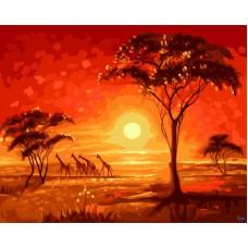Картина-раскраска по номерам «Животный мир Африки» 40*50 см