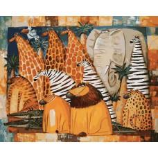 Картина-раскраска по номерам «Животные Африки» 40*50 см