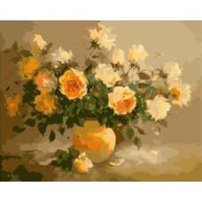 Картина-раскраска по номерам «Жёлтые розы» 40*50 см