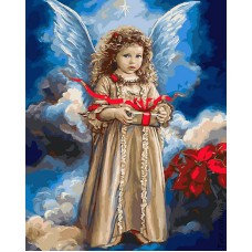 Картина-раскраска по номерам «Ангел с рождественским подарком» 40*50 см