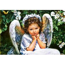 Картина-раскраска по номерам «Ангелочек в белом» 40*50 см