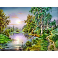 Картина-раскраска по номерам «Березки у пруда» 40*50 см