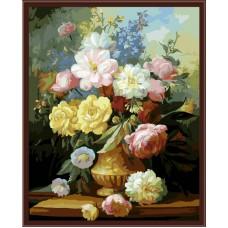 Картина-раскраска по номерам «Букет пионов в желтой вазе» 40*50 см