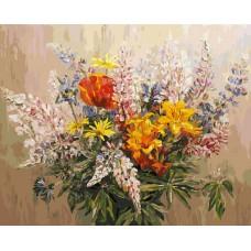 Картина-раскраска по номерам «Букет с желтыми лилиями» 40*50 см