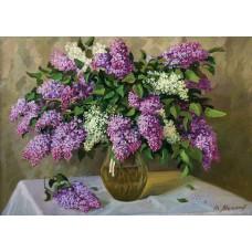 Картина-раскраска по номерам «Букет сирени в вазе» 40*50 см