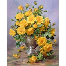 Картина-раскраска по номерам «Букет желтых роз» 40*50 см