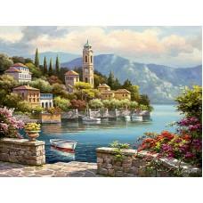 Картина-раскраска по номерам «Часовня у залива» 40*50 см