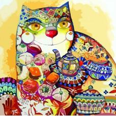 Картина-раскраска по номерам «Чайный кот» 40*40 см