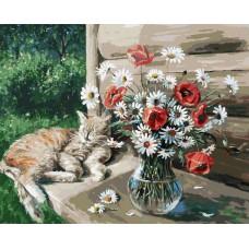 Картина-раскраска по номерам «Дачная жизнь кота Василия» 40*50 см