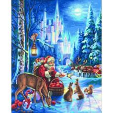 Картина-раскраска по номерам «Дед Мороз и лесные звери» 40*50 см