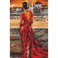 Картина-раскраска по номерам «Девушка в красном» 40*50 см
