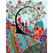 Картина-раскраска по номерам «Домики и дерево из завитков» 40*50 см