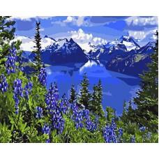 Картина-раскраска по номерам «Горное озеро» 40*50 см