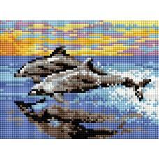 Алмазная мозаика «Игры дельфинов» 16*24 см