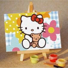 Картина-раскраска по номерам «Kitty с цветами» 10*15 см