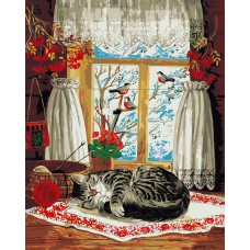 Картина-раскраска по номерам «Кошка и зима за окошком» 40*50 см