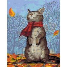 Картина-раскраска по номерам «Кот в шарфе» 40*50 см или 30*40 см