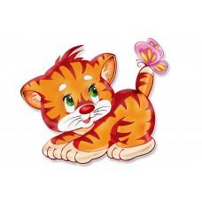 Картина-раскраска по номерам «Котенок и бабочка» 20*30 см