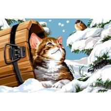 Картина-раскраска по номерам «Котенок и воробей» 30*40 см