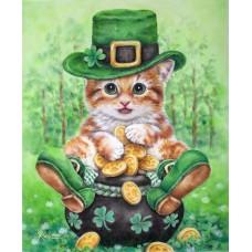 Картина-раскраска по номерам «Котёнок-леприкон» 30*40 см