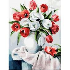 Картина-раскраска по номерам «Красные и белые» 30*40 см