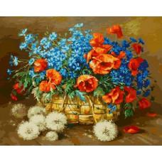 Картина-раскраска по номерам «Лето в корзинке» 40*50 см