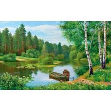 Картина-раскраска по номерам «Лодки у берега» 40*50 см
