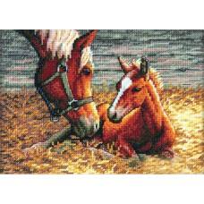 Алмазная мозаика «Лошадь и жеребенок» 20*30 см