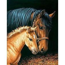 Картина-раскраска по номерам «Лошади в конюшне» 30*40 см