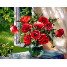 Картина-раскраска по номерам «Маки на окне» 40*50 см