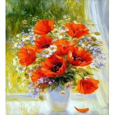 Картина-раскраска по номерам «Маки с ромашками на окне» 40*50 см