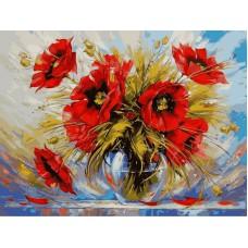 Картина-раскраска по номерам «Маки в стеклянной вазе» 40*50 см