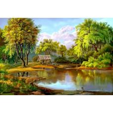 Картина-раскраска по номерам «Мельница у озера» 40*50 см