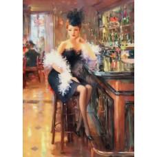 Картина-раскраска по номерам «Модница в баре» 40*50 см
