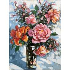 Картина-раскраска по номерам «Натюрморт с розами» 30*40 см
