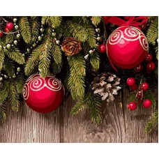 Картина-раскраска по номерам «Новогодние шары на елке» 40*50 см