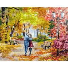 Картина-раскраска по номерам «Осенний парк, скамейка, двое» 40*50 см