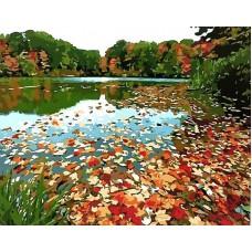 Картина-раскраска по номерам «Озеро осенью» 40*50 см