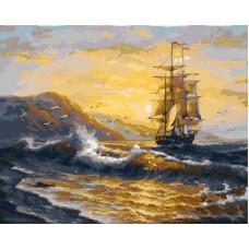 Картина-раскраска по номерам «Парусник в шторм» 40*50 см