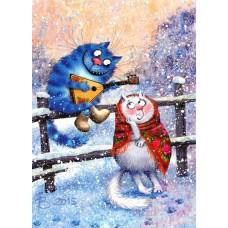 Картина-раскраска по номерам «По морозу босиком» 40*50 см
