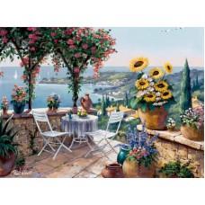 Картина-раскраска по номерам «Подсолнухи на террасе» 40*50 см