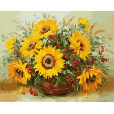 Картина-раскраска по номерам «Подсолнухи в корзине» 40*50 см