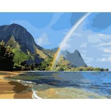 Картина-раскраска по номерам «Радуга над морем» 40*50 см