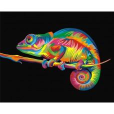 Росписьна холсте по номерам «Радужный хамелеон» 30*40 см