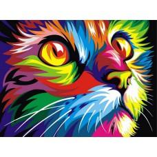 Картина-раскраска по номерам «Радужный кот (худ. Ваю Ромдони)» 30*40 см