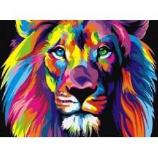 Картина-раскраска по номерам «Радужный лев» 30*40 см или 20*30 см